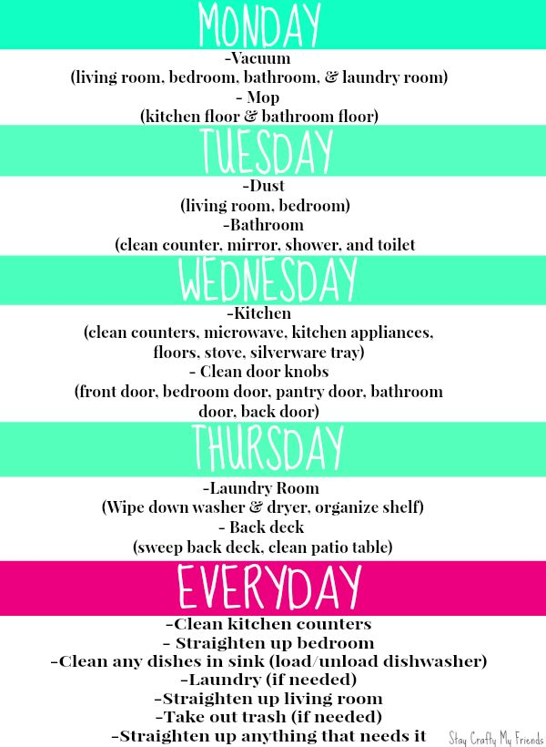 weekly cleaning schedule for college apartments