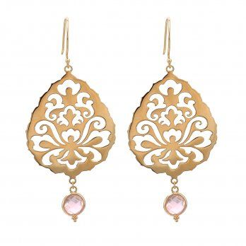 Ananda Souldance Earrings . 22kt Gold Vermeil . Rose Quartz