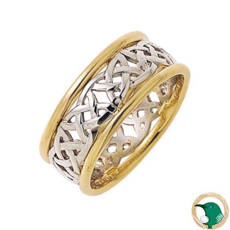 Our Gents Exploration Celtic ring shown here in 18ct yellow and white gold