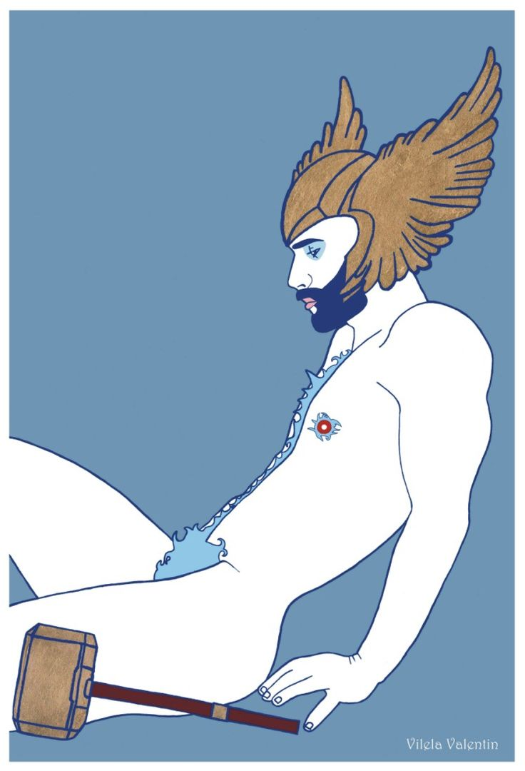 """Thoughtful Thor"" – Acrylics and Gold Leaf on Paper – 30cm x 46cm – Vilela Valentin  http://vilelavalentin.weebly.com/ldquothoughtful-thorrdquo.html https://www.redbubble.com/people/vilelavalentin/works/28041615-thoughtful-thor?asc=u&p=greeting-card&rel=carousel"
