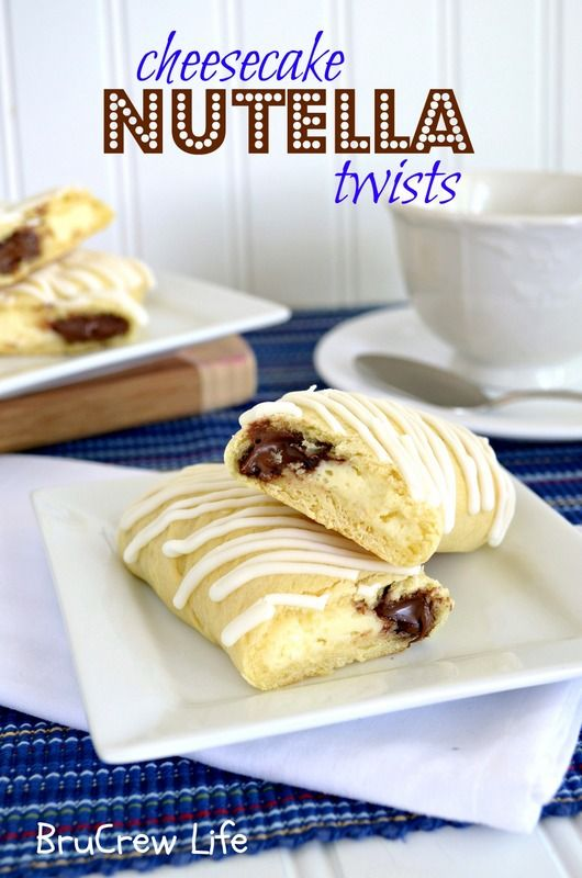 Cheesecake Nutella Twists - crescent rolls filled with nutella and cheesecake...the best way to start the day #pillsbury #crescentrolls #nutella http://www.insidebrucrewlife.com
