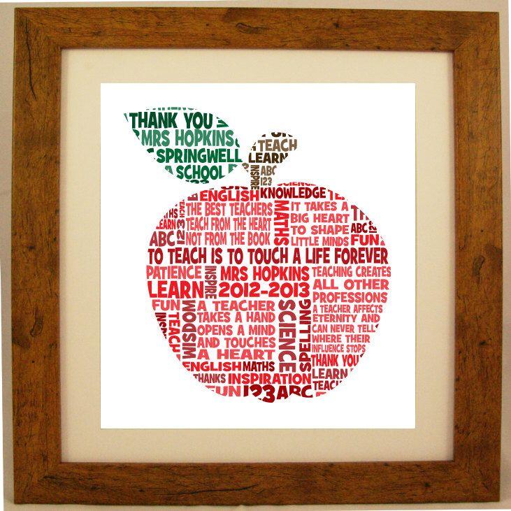 Personalised Teacher Appreciation Word Art Gift by ArtyAlphabet on Etsy https://www.etsy.com/listing/154745486/personalised-teacher-appreciation-word