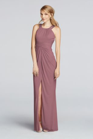 Set the scene with this light weight mesh bridesmaid dress. A high neck, beaded halter, and front slit combine to create a polished look. Mesh fabric and a ruched waist will compliment your body shape. Fully lined. Zipper Back. Imported polyester. Dry clean only. Available in Extra Length sizes as Style 4XLF17093. To protect your dress, try our Non Woven Garment Bag.