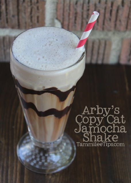 Copy Cat Arby's Jamocha Shake Ingredients  1 cup cold coffee  1 cup low-fat milk  3 tbsp Sugar  3 cups Vanilla Ice Cream  3 tbsp chocolate syrup Directions  1. Combine coffee, milk, sugar and blend in the blender for 15 seconds  2. Add in ice cream, chocolate syrup and blend until creamy. Makes 2 16-ounce drinks