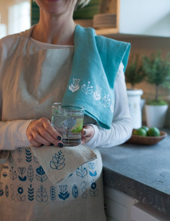 Ideas for printing designs. Scandinavian Iron-On Patterned Apron, Towels and Napkins - Lia Griffith