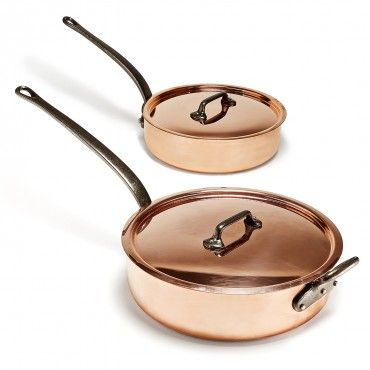 Mauviel Copper Sauté Pans  Crafted in a Normandy city with an 800-year heritage of copper manufacturing, Mauviel copper cookware melds two powerful culinary materials for foolproof cooking: with a polished copper exterior and stainless steel interior, each piece offers conductive control and lasting reliability.