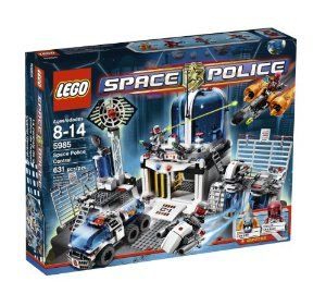 LEGO® Space Police Central 5985 by LEGO. $149.99. Vehicles include 2 rocket bikes, prison pod transport truck and alien space chopper with shooting function. Keep the alien crooks locked up in Precinct 78 Station. Station features airlock door, prison pod modules, control tower, radar and more. 631 LEGO pieces. Includes 5 minifigures:  2 Space Police Commandos, Jawson, Craniac and X99 robot. From the Manufacturer                The Space Police keep some of the galaxy's most dan...