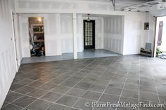 How to Pimp Your Garage Floor {On a Budget} and Make it Look Like Tile - Farm Fresh Vintage Finds