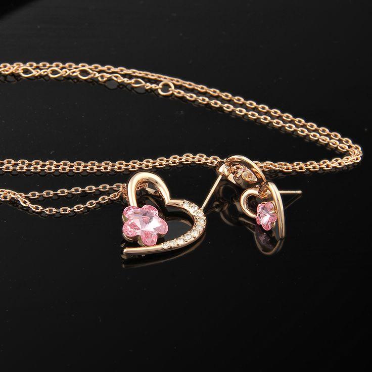 Kalbin Işığı Pembe Set - Avusturya kristali - Swarovski taşlar - Altın kaplama - Aksesuar - Set - Dalya Takı Austrian Crystal - Swarovski stones - Accessory - Jewellery Set - Rose Gold - Gold Plated - Pink Flower - Heart