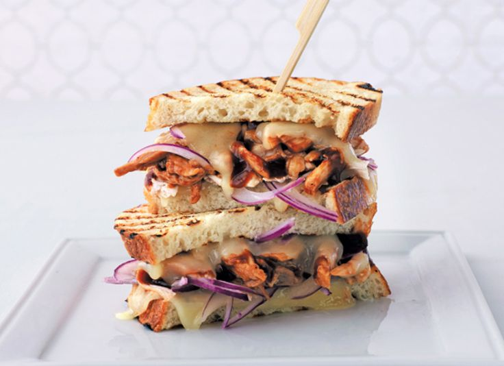 Our Best Grilled Sandwiches And Panini Recipes: Pulled Barbecued Chicken Panini With Swiss And Red Onion