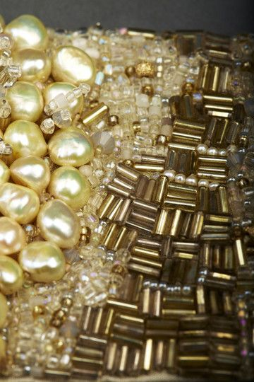 Golden Pearl Couture Cuff by Andrea Gutierrez (detail). Bead embroidery with beads, pearls & semiprecious stones