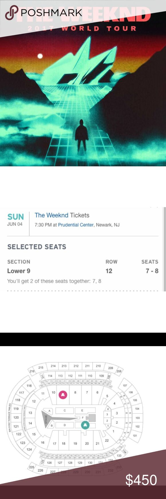 2 Tickets for The Weeknd in concert Newark NJ I have 2 tickets in a truly amazing section, with great close views of the stage. Section 9 Row 12 Seats 7 & 8!!!   June 4th at the Prudential Center Newark NJ  Seats come together! $50 Lower than on StubHub or Ticketmaster because no processing fees!   $450 AND PRICE IS FIXED!!!!!!!!!!!!!  Tickets will we mailed! Adidas Shoes Sneakers