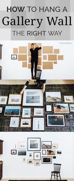 Test de lay-out van je fotowand met stukken papier