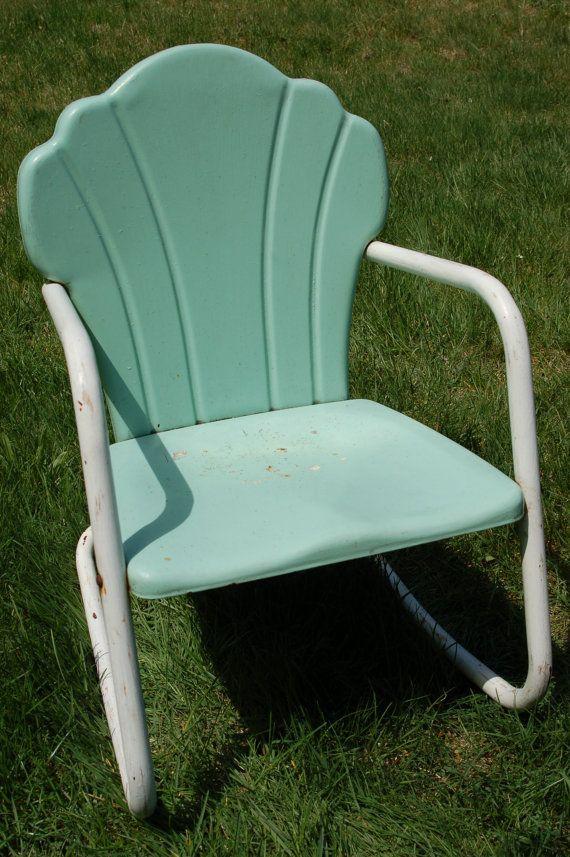 Mid Century Childu0027s Seafoam Green And White Metal Lawn Rocking Chair Via  Etsy