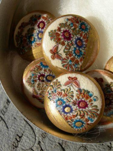 Set-6-antique-vintage-Satsuma-porcelain-buttons-flowers-butterflies