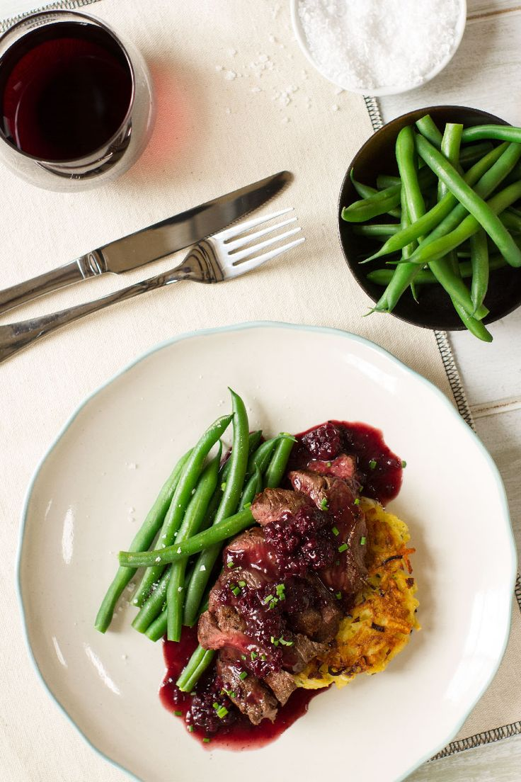 Seared Venison with Leek and Potato Rosti and Boysenberry Glaze