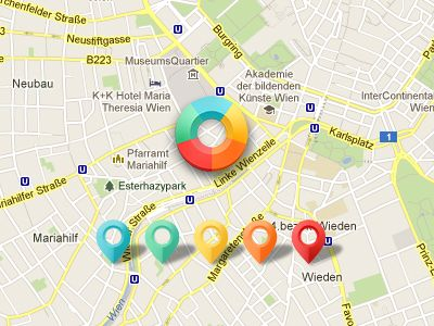 Dribbble - Map - Location Indicator & Pushpins by Ines Gamler