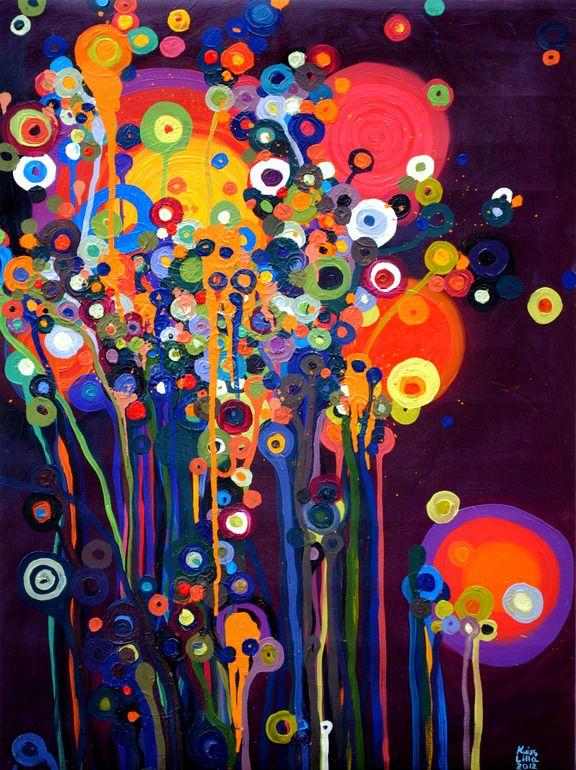 "Saatchi Online Artist: Lilla Kuizs; Oil, 2012, Painting ""Magic grass at night"""