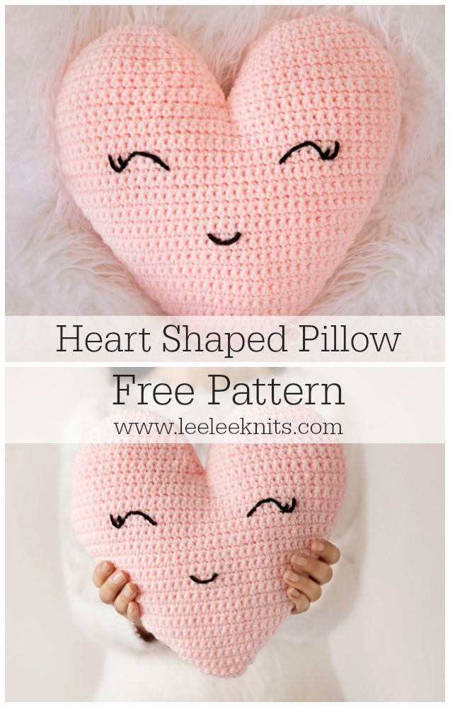 "FREE - CROCHET - Heart Shaped Pillow Crochet Pattern ~ finished size measures 12""T x 11.5""W (at widest part) ~ this would look fantastic in a baby, child or teen's room. #CrochetIdeas"