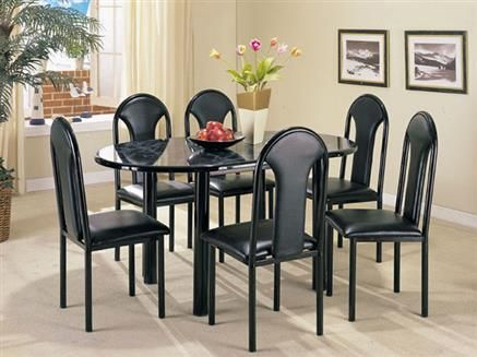 Uptown Black Faux Marble Dining Table Set