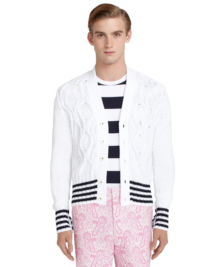 Cable Cardigan with Stripe Boarder