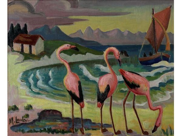 Maggie Laubser - 'Flamingos on the Beach'