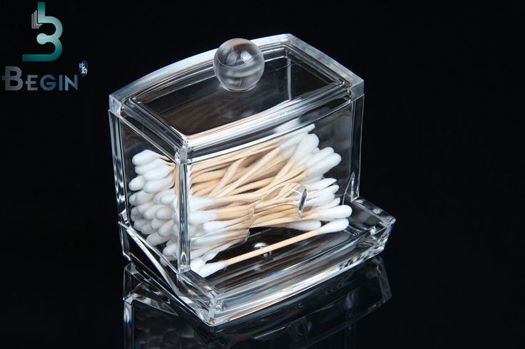 Acrylic Cotton Swab Organizer Box  Clear Cosmetic Holder Q-tip Makeup Storage Case Spools Organizer Hotel Supplies