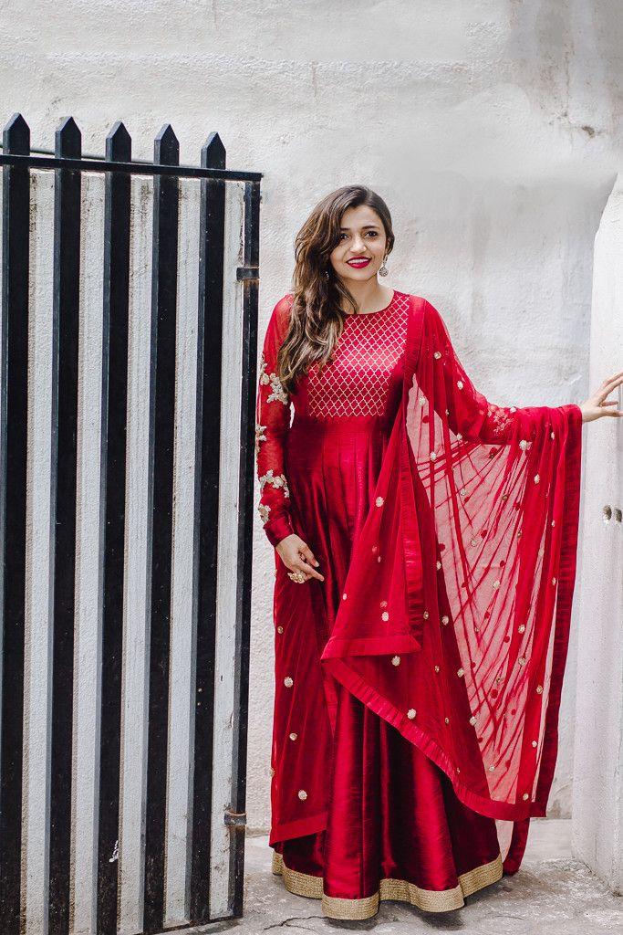 Deep Red Anarkali by MISHRU | Embellvish