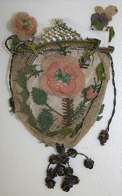 Pouch Date: 18th century Culture: European Medium: silk, metallic thread Dimensions: Length (top to bottom): 6 in. (15.2 cm) Credit Line: Purchase, Judith and Gerson Leiber Fund, 1990 Accession Number: 1990.227