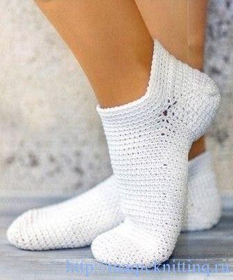 Вяжем носки крючком схема
