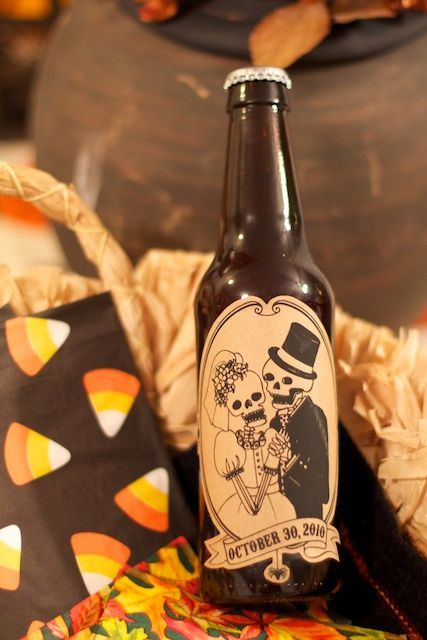 Brew your own beer and label them for Halloween wedding favors! Would also work on soda etc. @Katelynn Callaway Schell we could just soak the labels off of