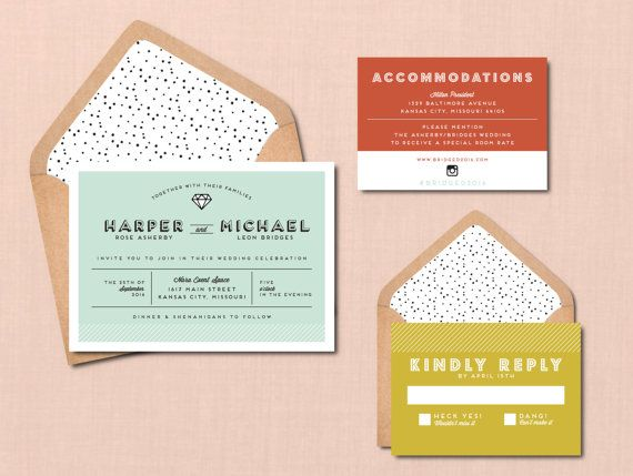 Modern Icon Wedding Suite // DIY PRINTABLE Invite RSVP //