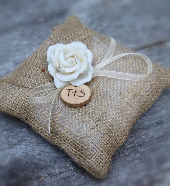 Burlap Ring Bearer Pillow Rustic Weddings by sparkleandposy
