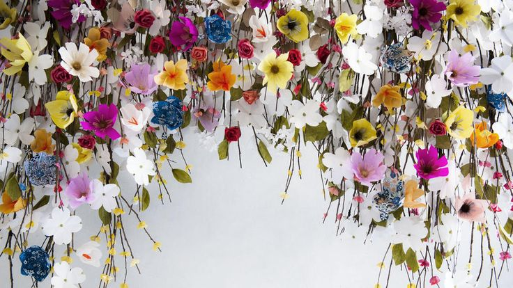 A festoon of paper flowers