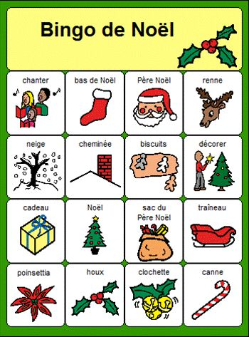 French Christmas Bingo Bingo de Noël