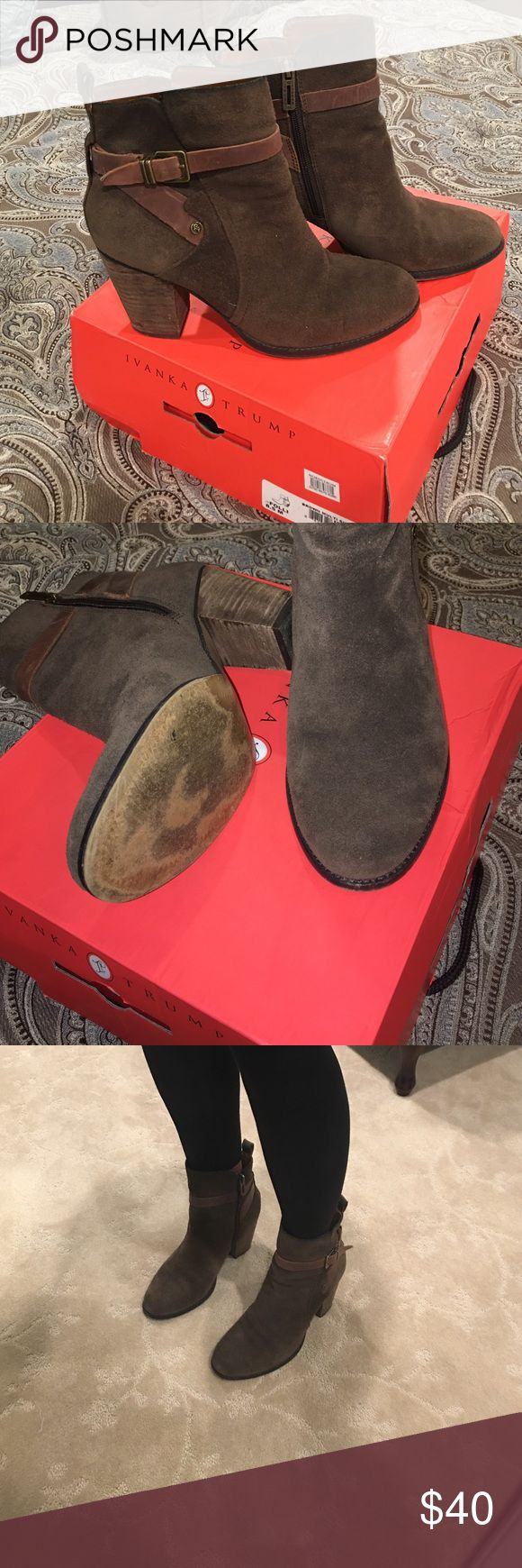 Ivanca Trump bootie Brown multi suede bootie. Has a buckle on the side. Zipper on inside. Great bootie for jeans or leggings . Super comfy ! A little worn on heel from driving ! Love this bootie! Ivanka Trump Shoes Ankle Boots & Booties