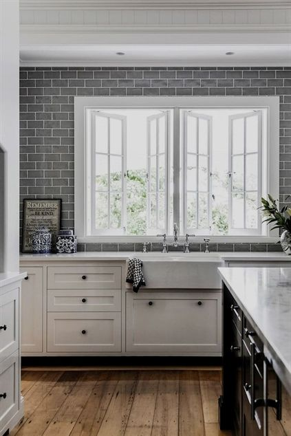 Grey Subway Tile Is A Stunning Backdrop For White Or Marble Look