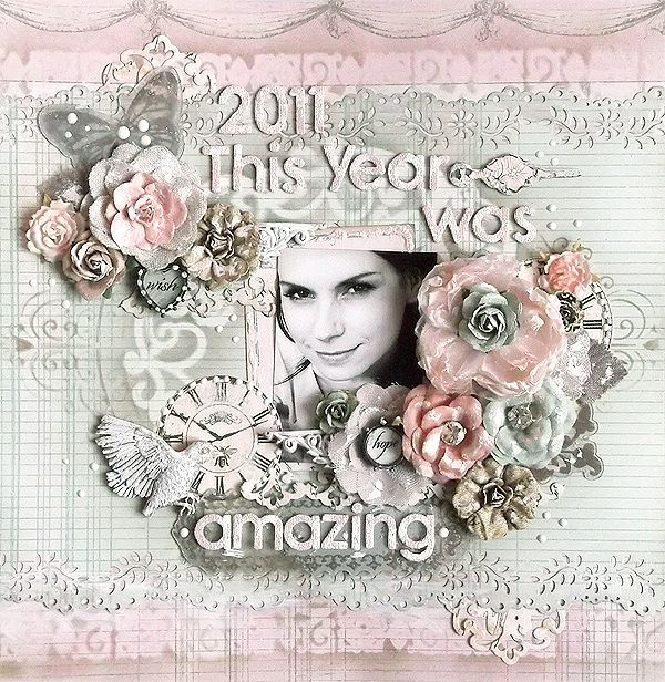 {This Year} *Prima* - Using Tim Holtz distress inks. And ink blending tool from Ranger Ink.