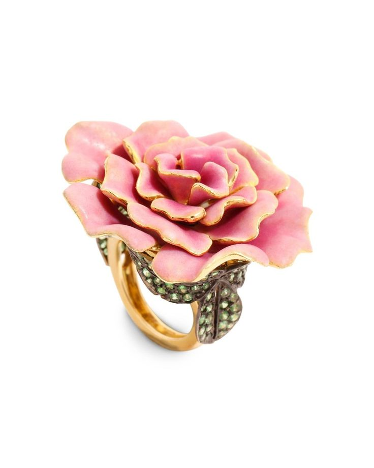 Lydia Courteille Gold, Enamel and Tsavorite Camellia Ring This striking 18kt-gold ring features a hand-painted enamel Camellia flower and a ...