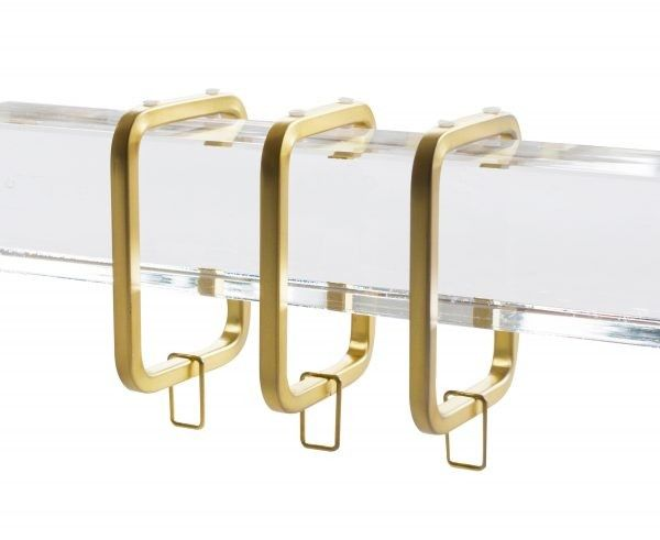 Brushed Gold Square C Ring For 1 1 2 Square Acrylic Curtain Rod