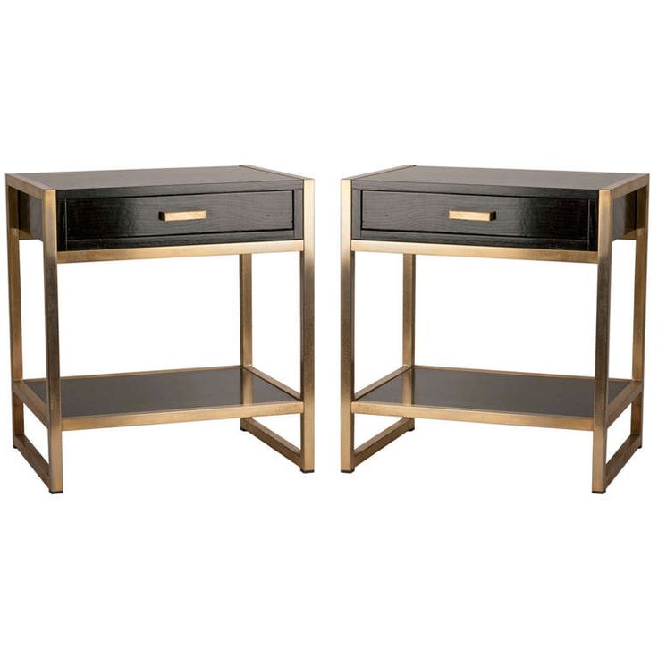 pair of french ebonized oak and bronze tables