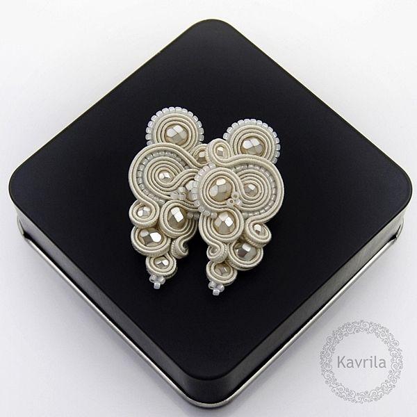 Reniro wedding soutache - kolczyki ślubne sutasz KAVRILA #sutasz #kolczyki #ślubne #rękodzieło #soutache #handmade #earrings #wedding #ivory #kavrila