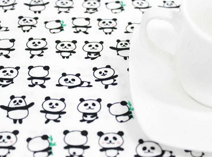 Pandas 100% Cotton Remnant  fabric 110 x 22.5cm Quilting fabric off cut