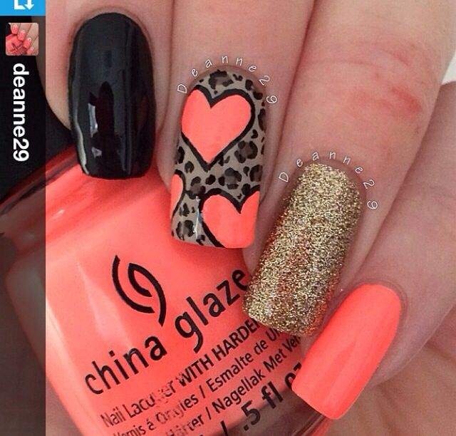 Coral, black and gold cheetah and heart mani