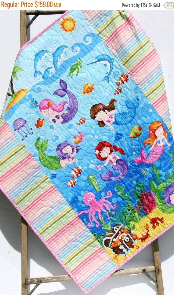 Mermaid Blanket, Baby Girls Quilt, New Baby Gift, Nautical ...