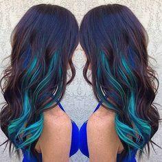 Neon blue peekaboo highlights