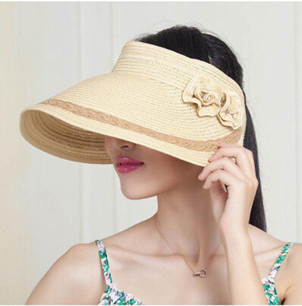Cheap flower straw visor hat for women UV package sun hats