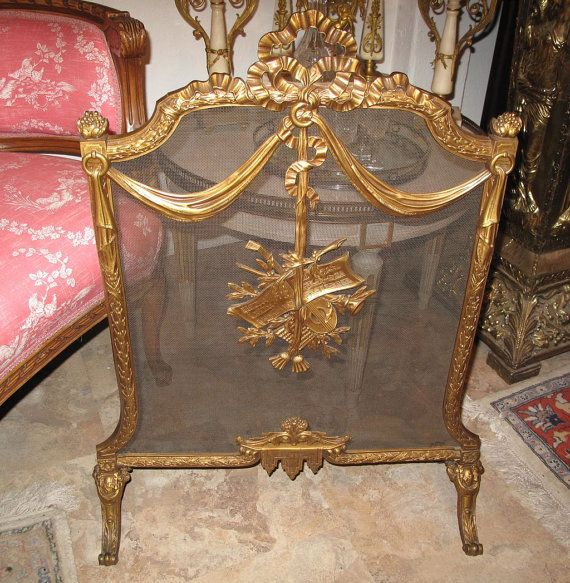 Antique French Victorian Cast Brass Fireplace Screen by GaryGermer, $595.00