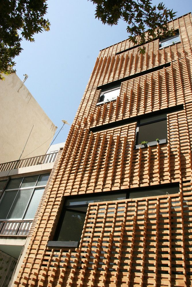 Brick Pattern House in Tehran, Iran (2011) - photo by Alireza Mashhadmirza, via archdaily