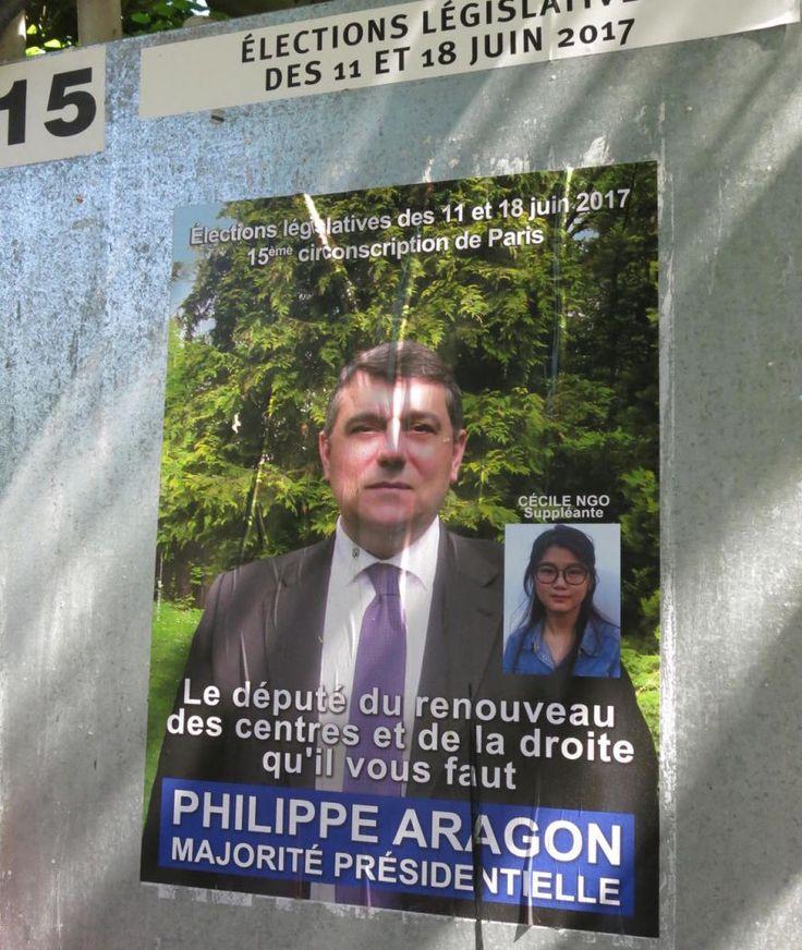 Certains candidats cherchent à profiter des effets de la « Macron-mania ». C'est le cas de Philippe Aragon qui se présente dans 15e circonscription (partie du XXe arrondissement) de Paris face, notamment, à l'ex-ministre et députée sortante PS, George Pau-Langevin. Le candidat, membre de l'UDI, qui se présente comme « le député du renouveau des centres et de la droite » a apposé sur ces affiches la mention ambiguë « majorité présidentielle ».Sa propagande électorale,...